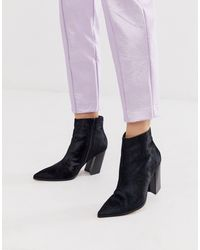 ASOS Elude Leather Pointed Heeled Boots - Black