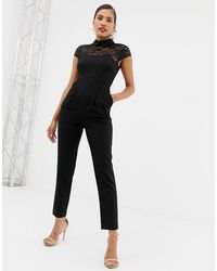 ASOS Lace Top Jumpsuit With Collar - Black