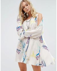 08f2d149d7acf Free People - Clear Skies Cold Shoulder Printed Dress - Lyst