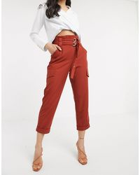 River Island Paperbag Utility Trousers - Red
