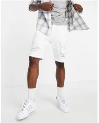 Hollister Short skinny en jean effet usé - Blanc