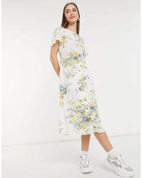 Warehouse Bonnie Rose Linen Wrap Dress - Multicolor