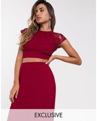 TFNC London Lace Shell Top - Red