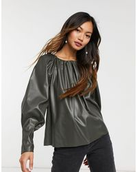 ASOS Leather Look Smock Top With Gathered Neck Detail - Green