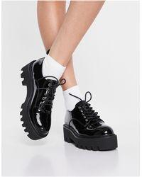 LAMODA Черные Лакированные Туфли На Массивной Подошве Со Шнуровкой Sweet Talk-черный