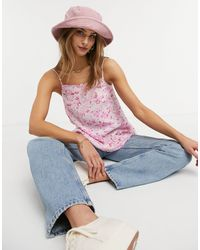 Warehouse Розовая Майка С Баской И Цветочным Принтом -многоцветный - Розовый