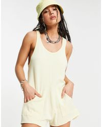Bershka Knitted Slouchy Playsuit - Multicolour