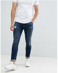 ASOS 12.5oz Skinny Jeans With Rips And Abrasions - Blue