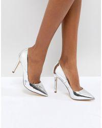 Call It Spring Gwydda Silver Metallic Court Shoes