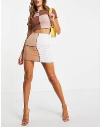 I Saw It First Contrast Seam Detail Mink Skirt Co Ord - Multicolor