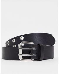 Stradivarius Cintura con fibbia quadrata e dettaglio con occhielli nera - Nero