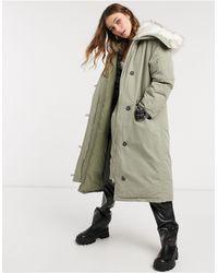 ASOS Longline Parka With Faux Fur Trim - Grey