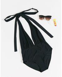 Boohoo – Multiway-Badeanzug mit Schnürung - Schwarz