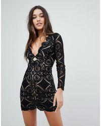 Love Triangle Mini Skater Dress In Scalloped Lace - Black