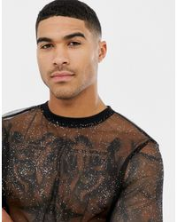 ASOS Lang T-shirt Met Lange Mouwen Van Mesh Met Glitter - Zwart