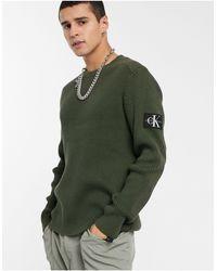Calvin Klein Джемпер Цвета Хаки С Нашивкой-монограммой На Рукаве -зеленый
