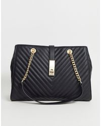 ALDO Quilted Chain Strap Tote - Black