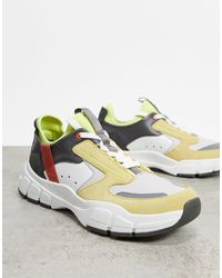 Reiss Leather Liam Chunky Runner Trainers Mint Leather Mix - Green