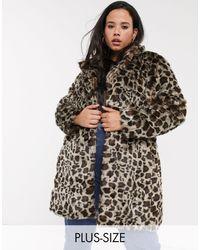 Simply Be Manteau fausse fourrure à imprimé léopard - Multicolore