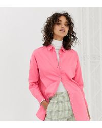 Stradivarius - Camisa rosa con detalle de costuras - Lyst
