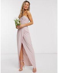 TFNC London - Bridesmaid One Shoulder Wrap Front Maxi Dress - Lyst