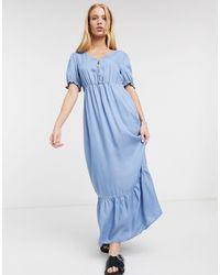 ONLY Голубое Платье Макси С Короткими Рукавами -синий