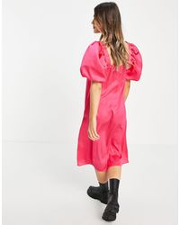 Lola May Ярко-розовое Платье Миди С Объемными Рукавами -розовый Цвет