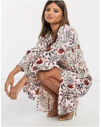 River Island Vestito midi arricciato color crema con stampa a fiori e maniche lunghe - Multicolore
