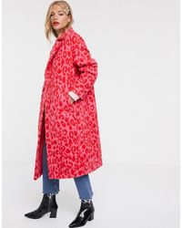 ASOS Manteau oversize à imprimé animal - vif - Rose