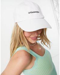 Pull&Bear Slogan Print Cap - White