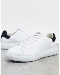 SELECTED Premium Leather Sneaker With Chunky Sole And Contrast Back Tab - White