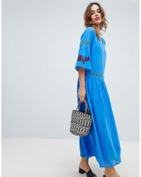 Sisley Embroidered Flower Maxi Dress - Blue