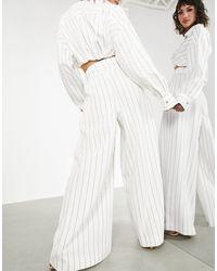 ASOS Wide Leg Trouser With Tie Waist - White