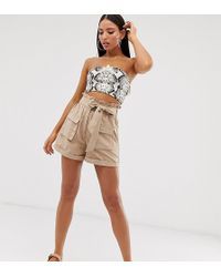 Missguided Faux Suede Paperbag Waist In Beige - Natural
