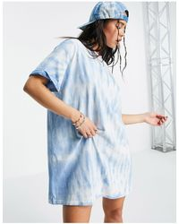 Bershka Vestito camicia oversize blu tie-dye