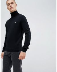 Fred Perry Roll Neck Merino Knitted Sweater In Black