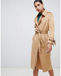 River Island - Faux Suede Belted Trench Coat In Camel - Lyst