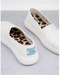 TOMS Эксклюзивные Экологичные Туфли Из Белой Парусины На Плоской Подошве Exclusive Alpagarta Mallow Eartwhise-белый