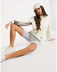 Hummel Sweat-shirt à logo et manches ballon - Crème - Blanc