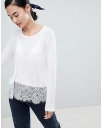 ONLY Lilo Top With Lace Trim - White