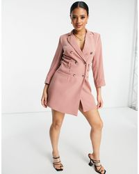 4th & Reckless Blazer Dress With Buttons - Purple