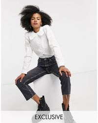 Reclaimed (vintage) Inspired Fitted Shirt With Frill Collar - White