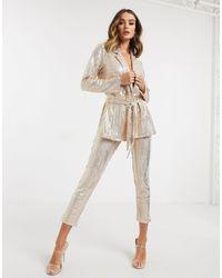 ASOS Jersey Sequin Slim Suit Trousers - Pink