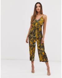 AX Paris Snake Culotte Jumpsuit-yellow - Multicolour