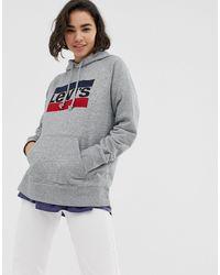 Levi's Худи С Логотипом -серый