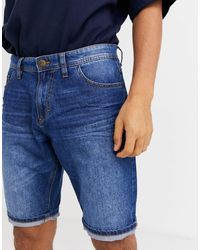 Tom Tailor Pantalones cortos vaqueros con 5 bolsillos en lavado a la piedra medio - Azul
