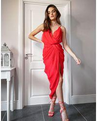 ASOS - Драпированное Шифоновое Платье Миди Со Структурированным Лифом - Lyst