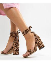 ASOS - Wide Fit Howling Tie Leg Block Heeled Sandals In Leopard Print - Lyst