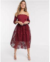 Chi Chi London Chi Chi Shannan Bardot Lace Prom Dress - Red
