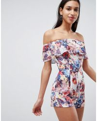 Love - Bardot Floral Print Playsuit - Lyst